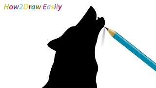 How to Draw a Wolf Howling Silhouette Easy Drawing