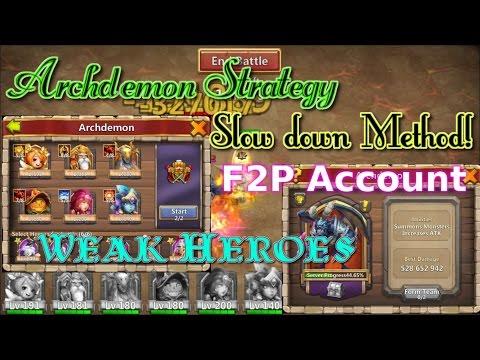 Castle Clash Warlock Archdemon Strategy_ No Demogoron_ Slowdown Method!