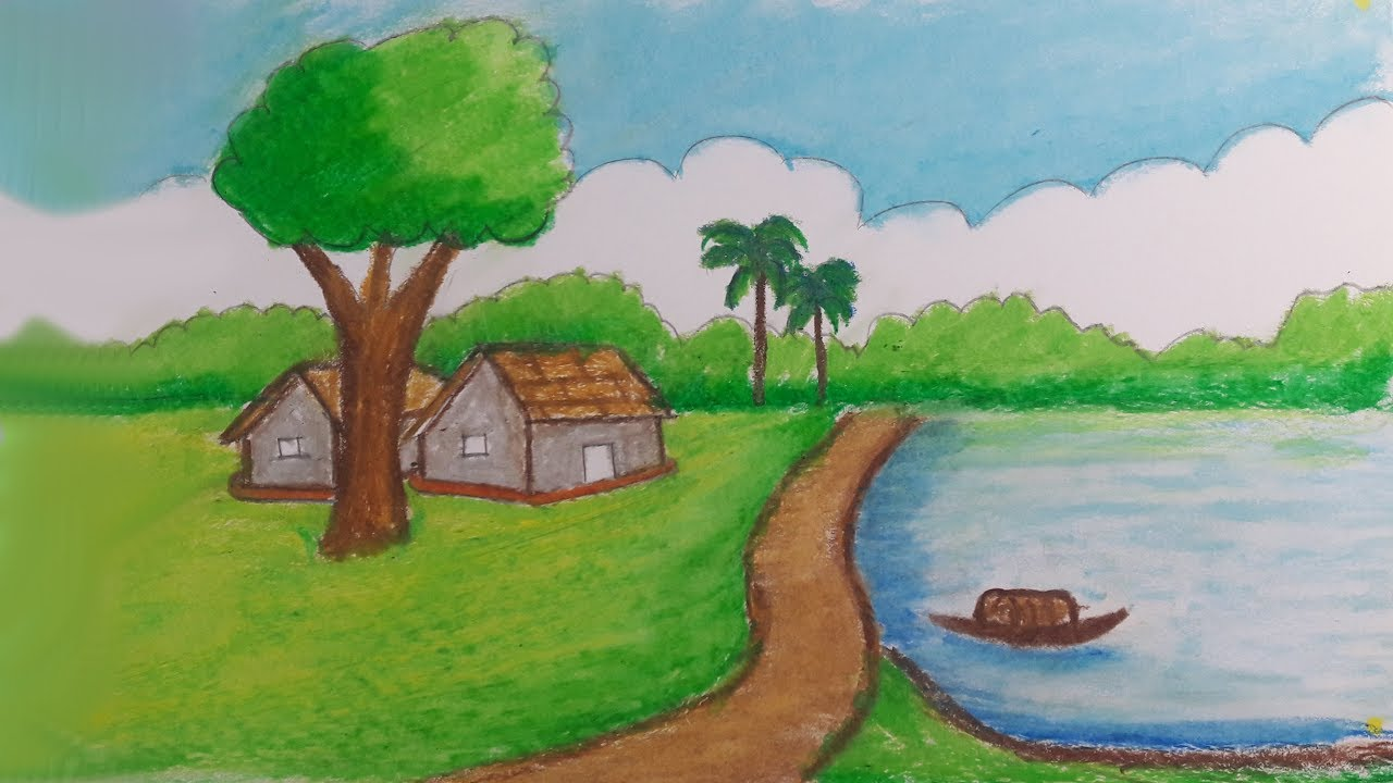 How to draw a village scenery step by step very easy natural scenery drawing with oil pastels