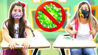 Heloísa e Mamãe ensinam como prevenir o vírus malvado na ESCOLA