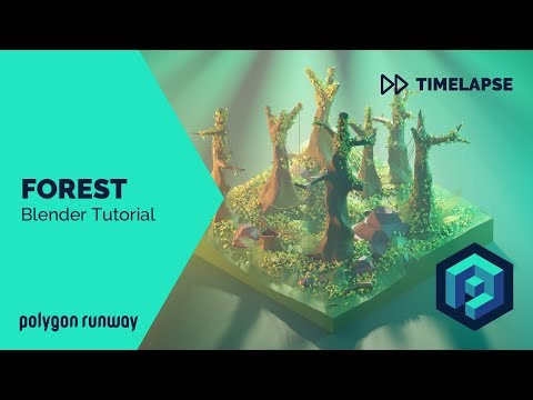 Forest - Blender 2.8 Lowpoly Isometric Modeling and Rendering Tutorial thumbnail