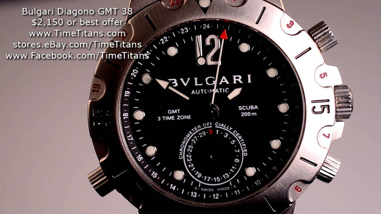 206f8d91b41 Bulgari Diagono Scuba GMT SD 38 S GMT SuperLuminova 3 Time Zone Stainless  Steel COSC Chronometer