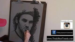 Federer drawing coming to life by Trick Shot Tennis
