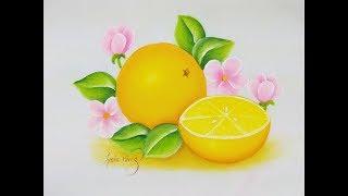 Pintura en tela como pintar frutas  naranjas con flores