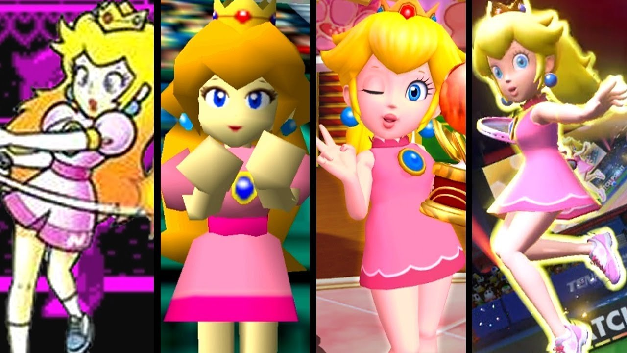Super Mario Evolution of PEACH'S OUTFIT in Mario Tennis (Aces to VB)