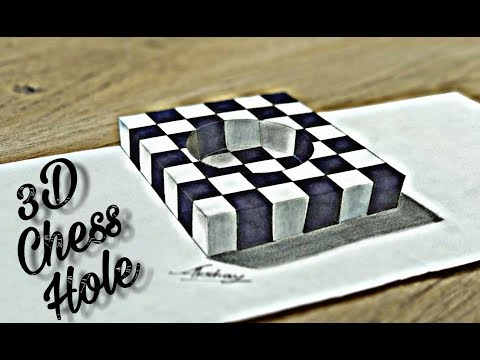How To Draw 3D Chess Hole - 3D Trick Art On Paper - Art Maker Akshay
