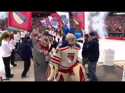 Teams walk out of dugouts before 2012 Winter Classic