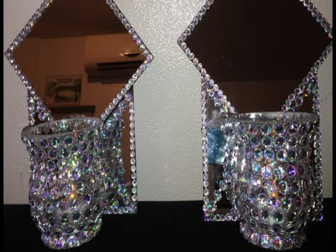HOW TO MAKE DOUBLE MIRROR WALL SCONCES - DOLLAR TREE ITEMS - DIY