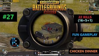"[Hindi] PUBG MOBILE | AMAZING ""16 KILLS"" FUN GAMEPLAY CHICKEN DINNER"