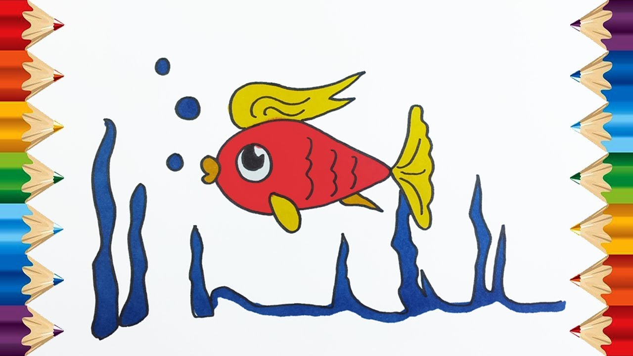 How to Fish Coloring Pages Learn Colors for Kids Children and ...