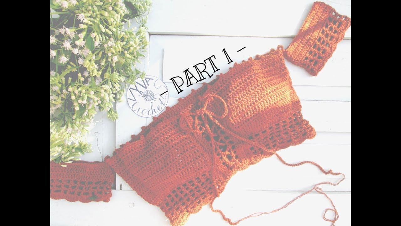 Crochet Bikini Croptop  Hướng dẫn móc croptop trễ vai cực quyến rũ – Part 1  Vyvascrochet