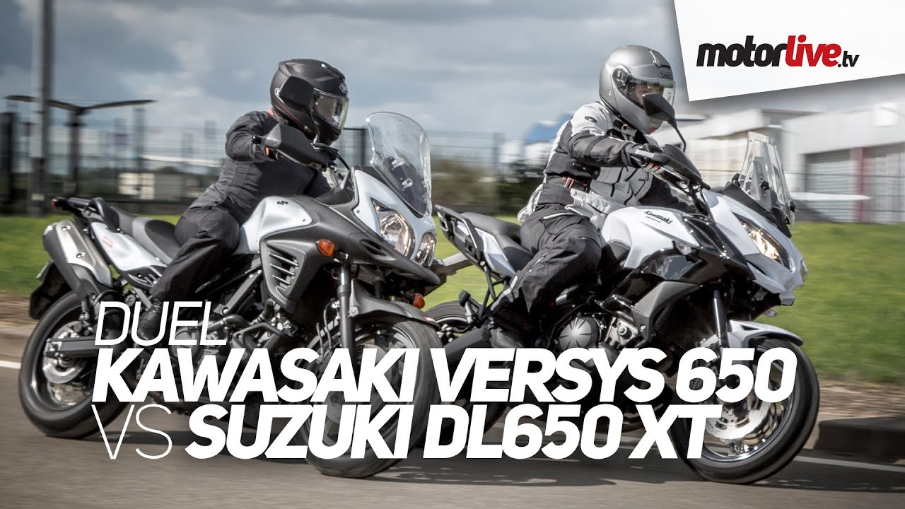 duel kawasaki versys 650 vs suzuki v strom 650 xt youtube. Black Bedroom Furniture Sets. Home Design Ideas