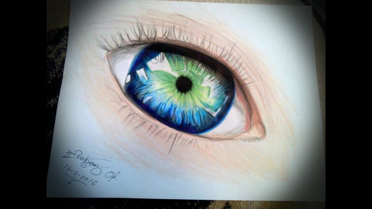 Como Pintar Un Dibujo Con Colores: Dibujo Ojo Realista Color