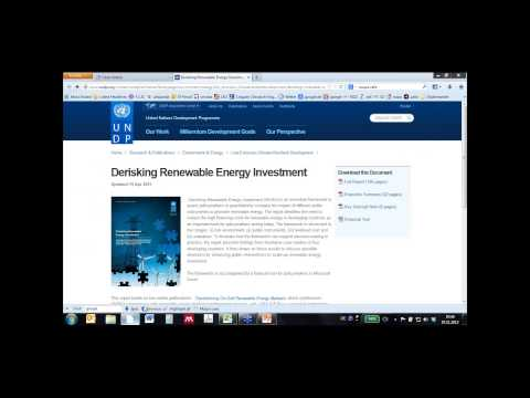 "An Introduction to UNDP's ""Derisking Renewable Energy Investment"" Framework and Fin"