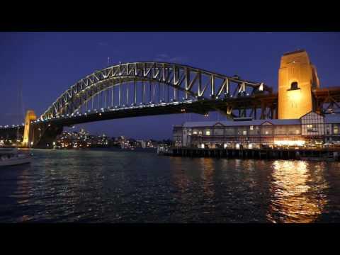 Sydney Harbour Bridge - Night Sailing - Motion Video Loop Background (1080HD)