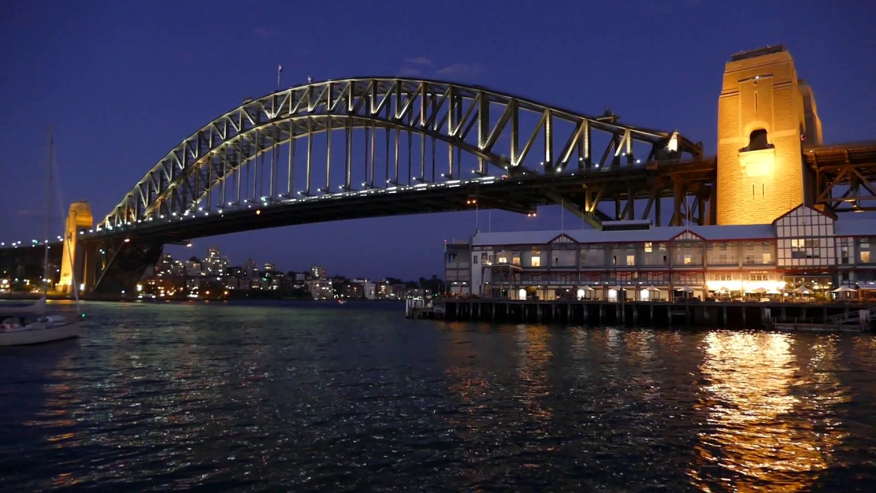 sydney harbour bridge - night sailing - motion video loop background  1080hd