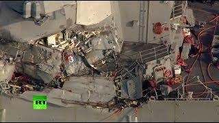 Видео последствий столкновения эсминца ВМС США и контейнеровоза у берегов Японии