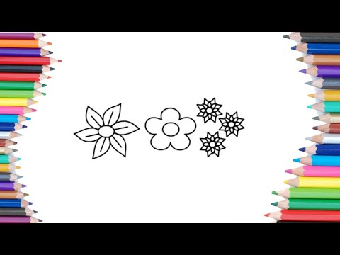 HOW TO DRAW FLOWER 🌸DRAWING AND COLORING PAGES FOR KIDS Kids Artwork #howtodraw