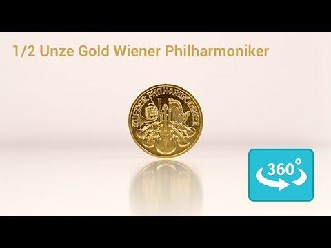 1/2 oz Gold Wiener Philharmoniker in 360° Ansicht