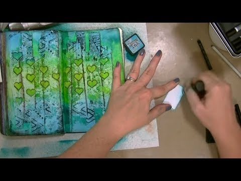 Paper Towel Background + Dylusions Spray Inks - Mixed Media Art Journal
