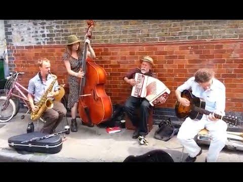 Accordion, Double Bass, Saxophone & Trombone Performance by The Dakota Jim Band @ London