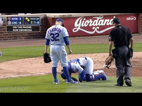 Willson Contreras takes 97 mph fastball to the nuts, a breakdown