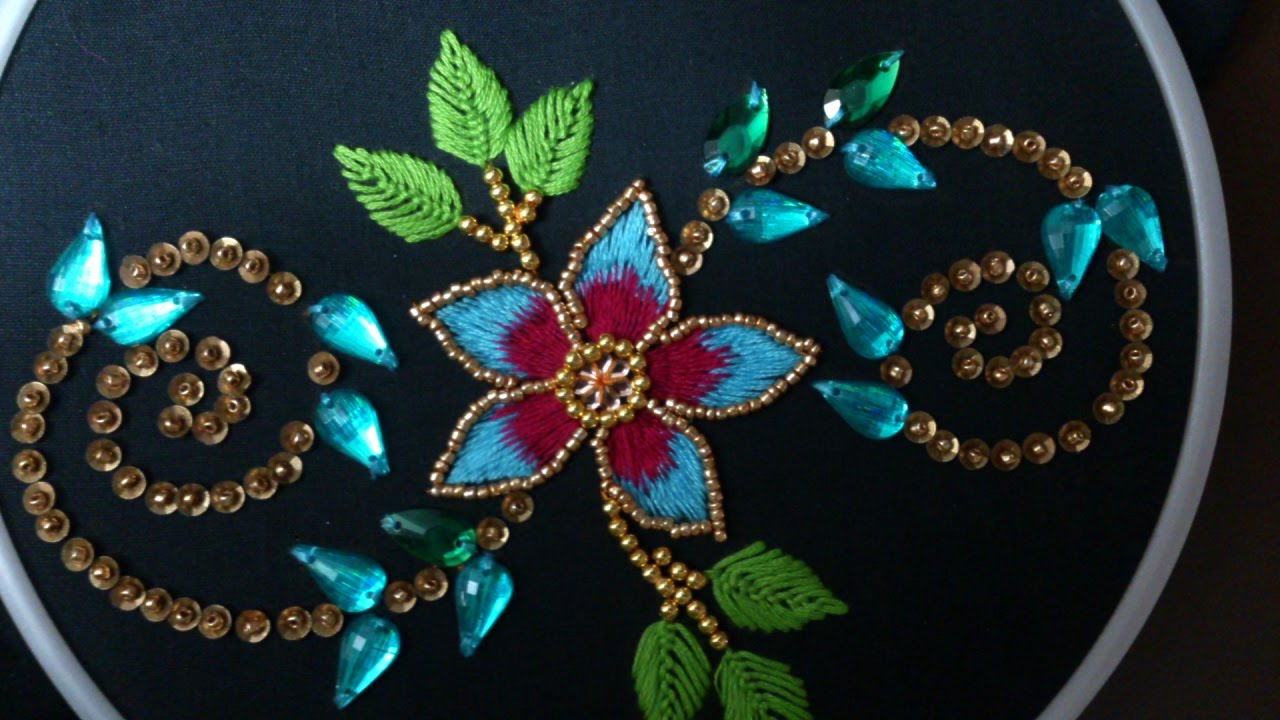 b0b853e2a1 Hand embroidery. Beads, kundan and chamky work for dresses, ghagras, sarees  and blouses - YouTube