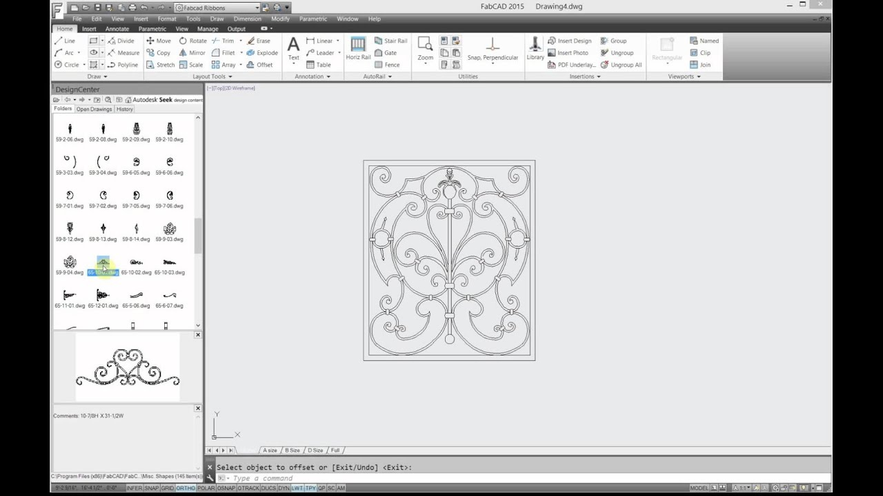 Using FabCAD Library designs to draw a garden gate