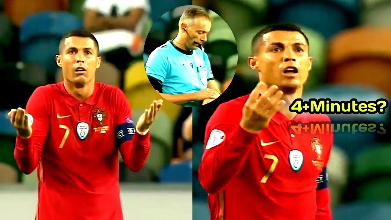 Cristiano Ronaldo reaction when referee called half time earlier during match vs Spain