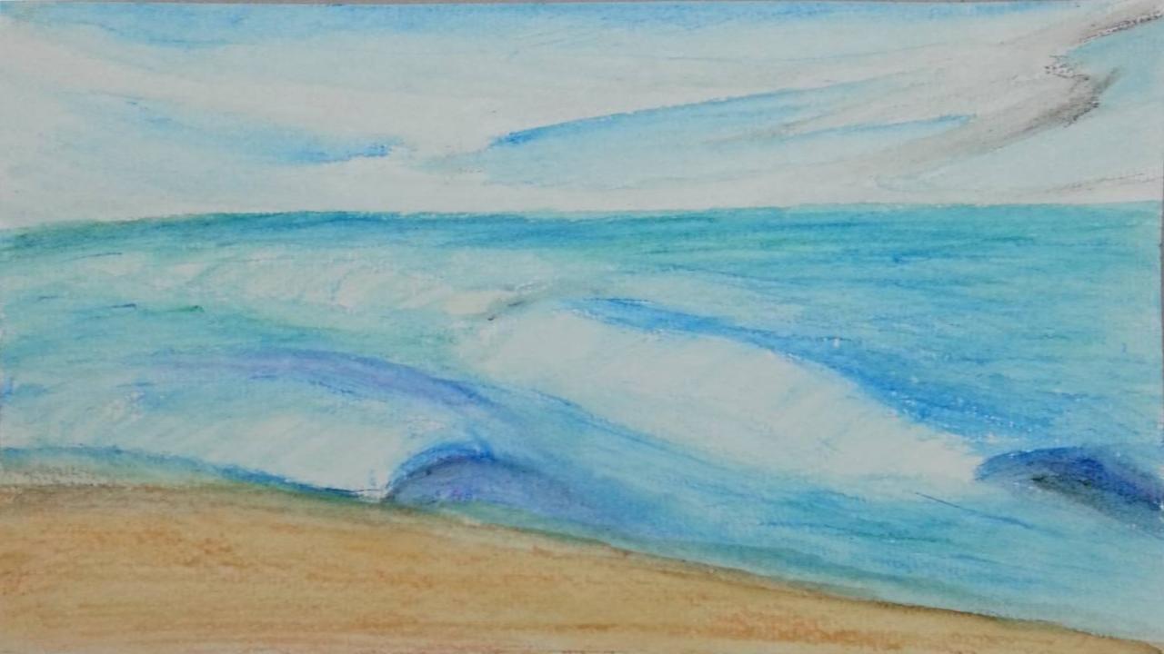 How I Art: Using Watercolor Pencils / Create Beach Scenes ...