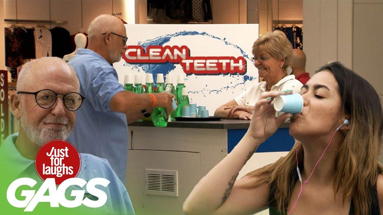 Kid Spits Mouthwash on Stranger's Face!!