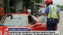 Driver ng sports car na sinita dahil sa illegal parking, humarurot palayo