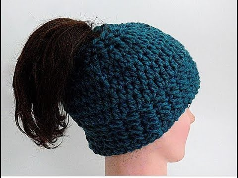 Easy How To Crochet A Chunky Messy Bun Hat Head Band Full Hat
