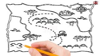How to Draw a Treasure Map Step by Step Easy for Beginners/Kids – Simple Maps Drawing Tutorial