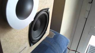 Home Made Subwoofer box reflex (Test excursion) 1080p