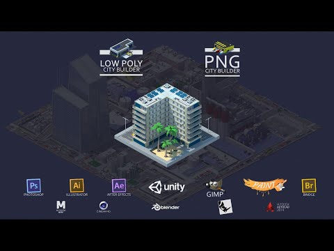 Low Poly City Builder And PNG City Builder - 3Dmax - Photoshop - Illustrator - Maya