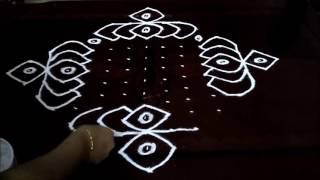 Simple lotus flowers  kolam with 15-1 straight | chukkala muggulu with dots| rangoli design.mp3