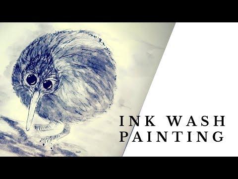 Real Kiwi Hours | Ink Wash Time Lapse | Speedpaint | Meme Series #0003