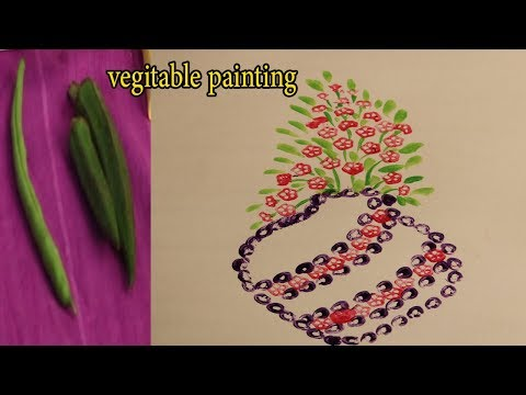 Vegetable Painting For Kids   Vegetable Painting With Lady Finger  Painting With Vegetables For Kids