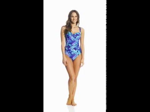 Beach Diva Swimwear Island Paisley Molded One Piece Swimsuit | SwimOutlet.com