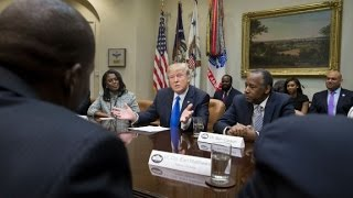 Trump rips media at Black History Month event