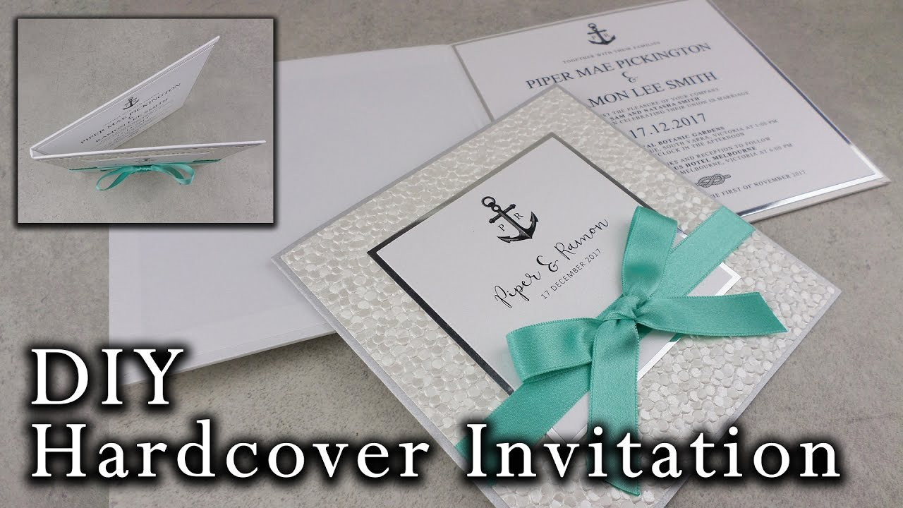 Diy Nautical Hardcover Invitation Elegant Beach Wedding Invitations