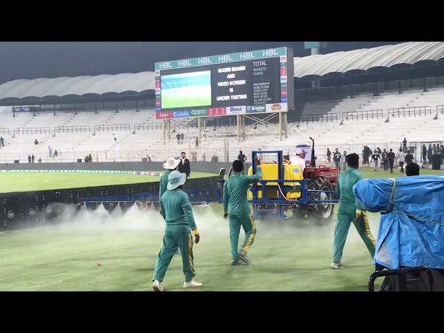 Village technique in Multan Stadium to reduce Dew