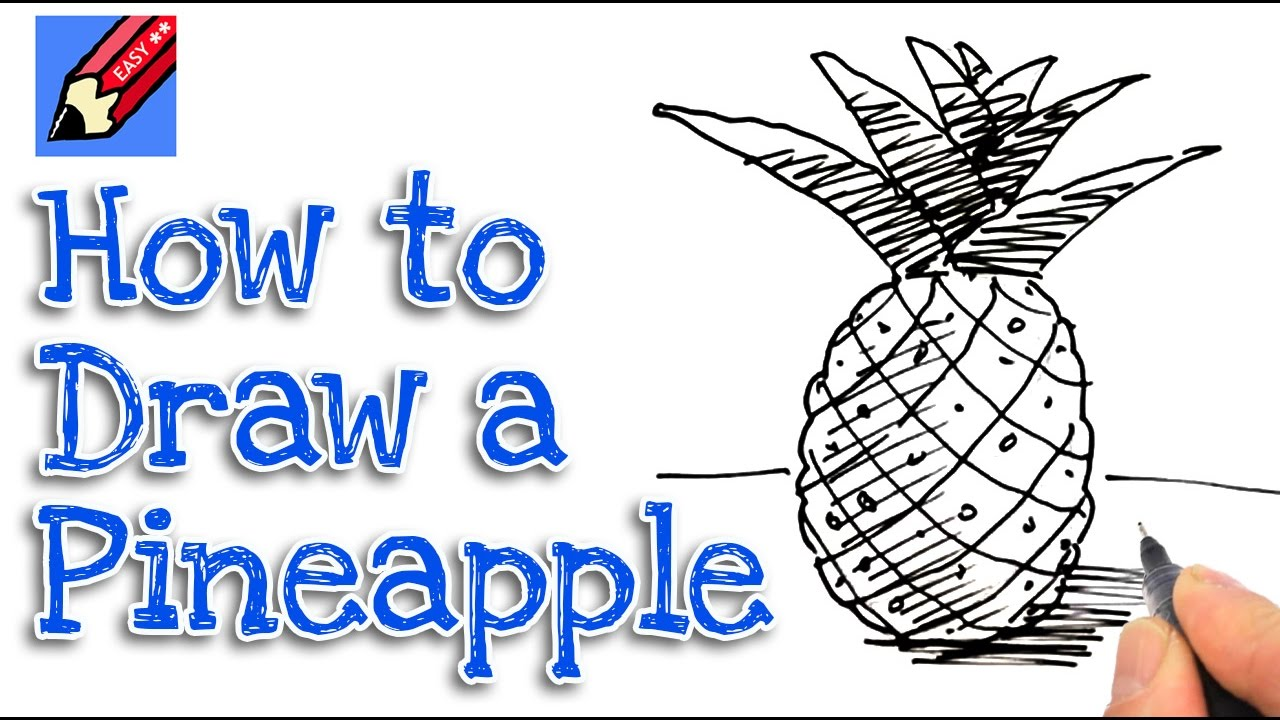 w to draw a pineapple real easy for kids and beginners ...