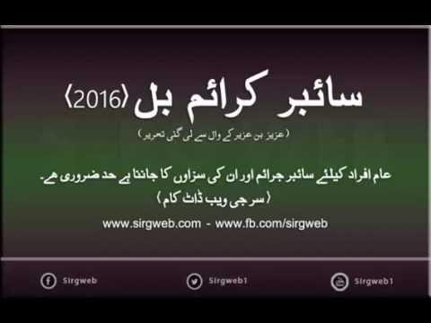 Cyber Crime Bill 2016 Of Pakistan - URDU