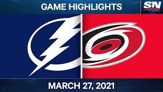 NHL Game Highlights   Lightning vs. Hurricanes – Mar. 27, 2021