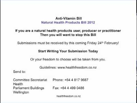 anti vitamin bill affects all New Zealanders and your rights to manufacture, use and prescribe