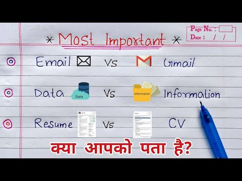 Email vs Gmail   Data vs Information   Resume vs CV   Most asked Questions in INTERVIEW