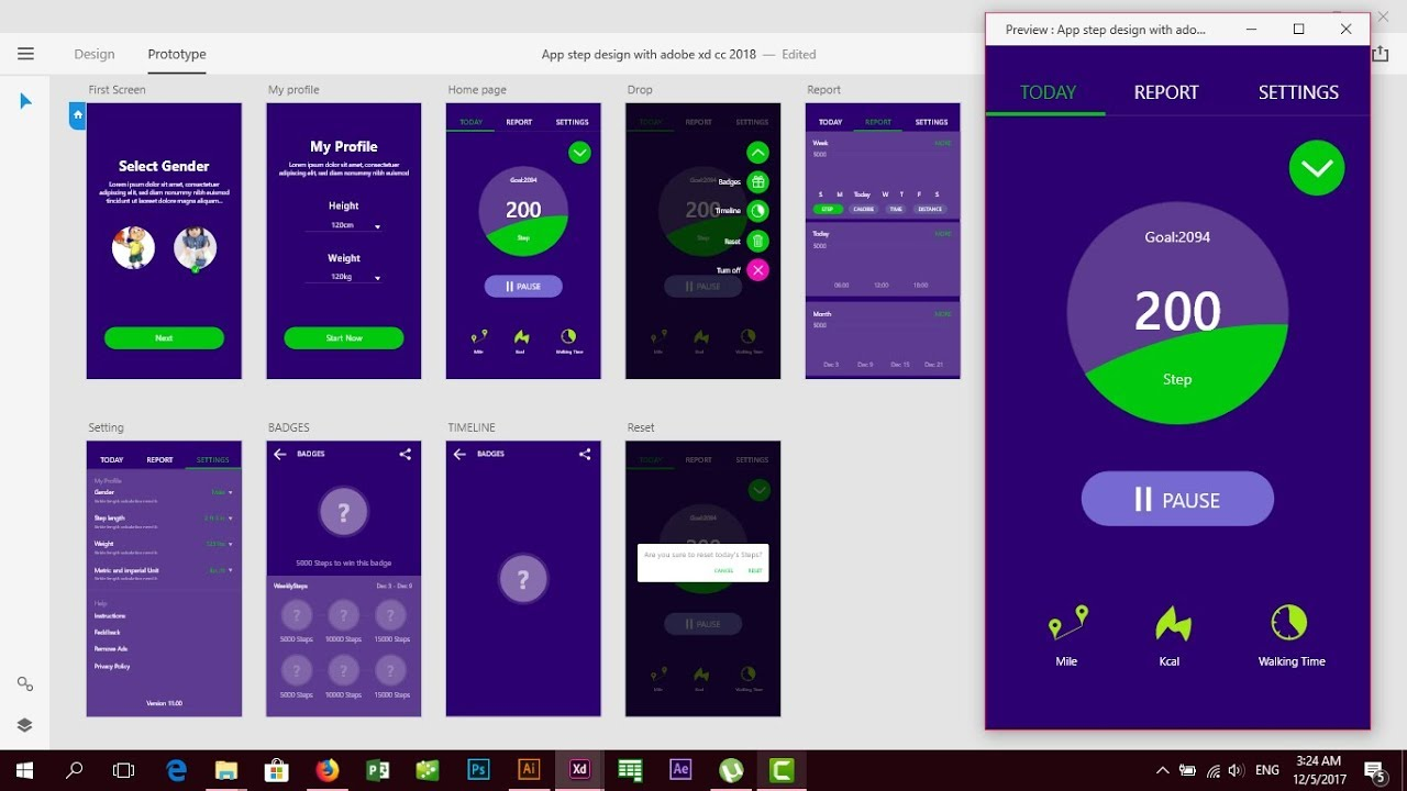 App tracker step by step design layout with adobe xd cc 2018 good UX and UI  design