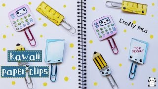 Kawaii paper clips. DIY kawaii school supplies. Back to school crafts